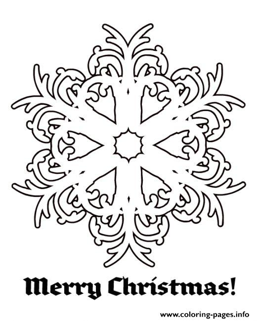 Merry Christmas Snow Flakes coloring pages