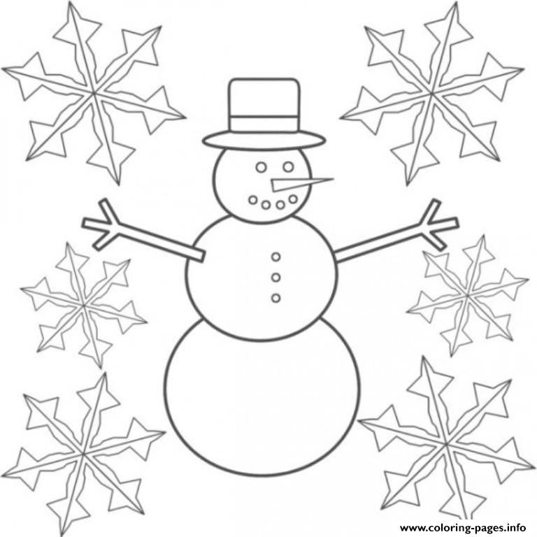 Snowman And Snowflake Sd15d Coloring Pages Printable