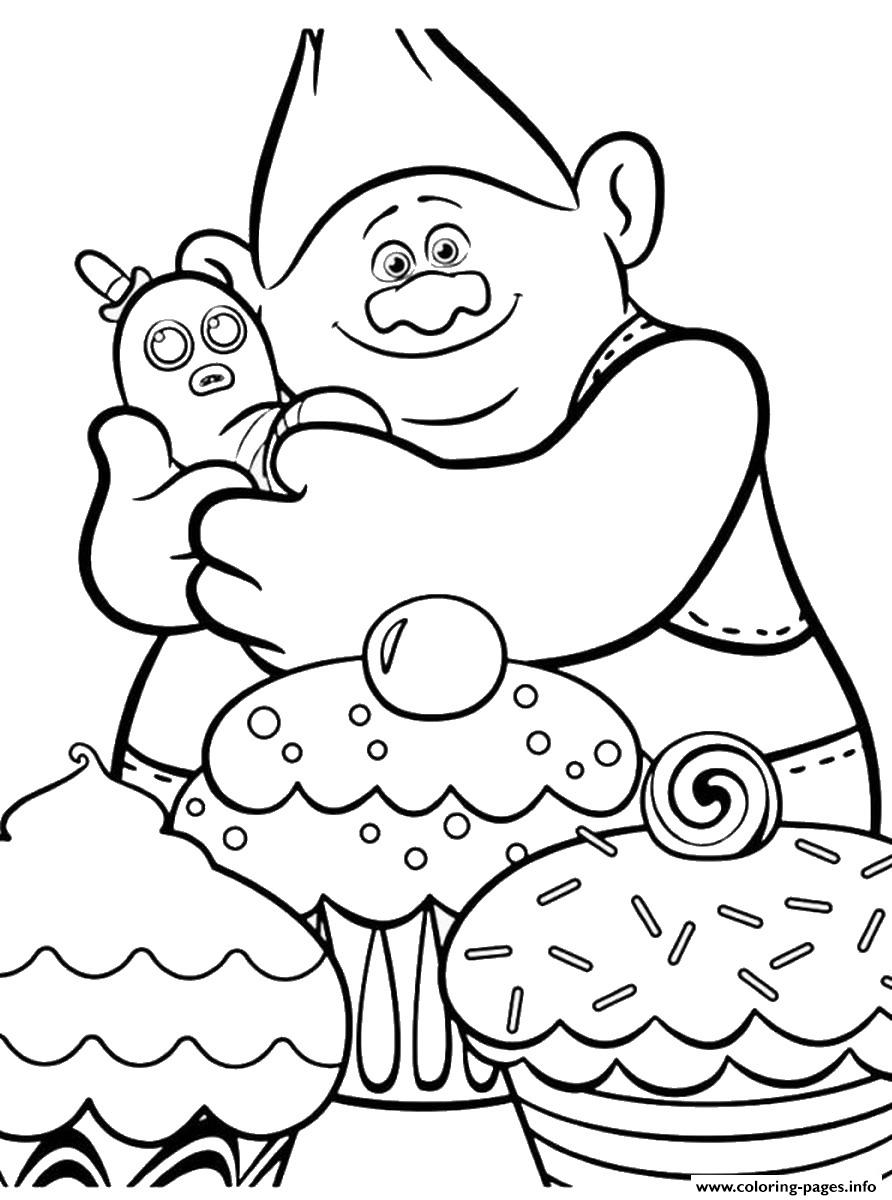 Trolls Movie Cupcakes coloring pages