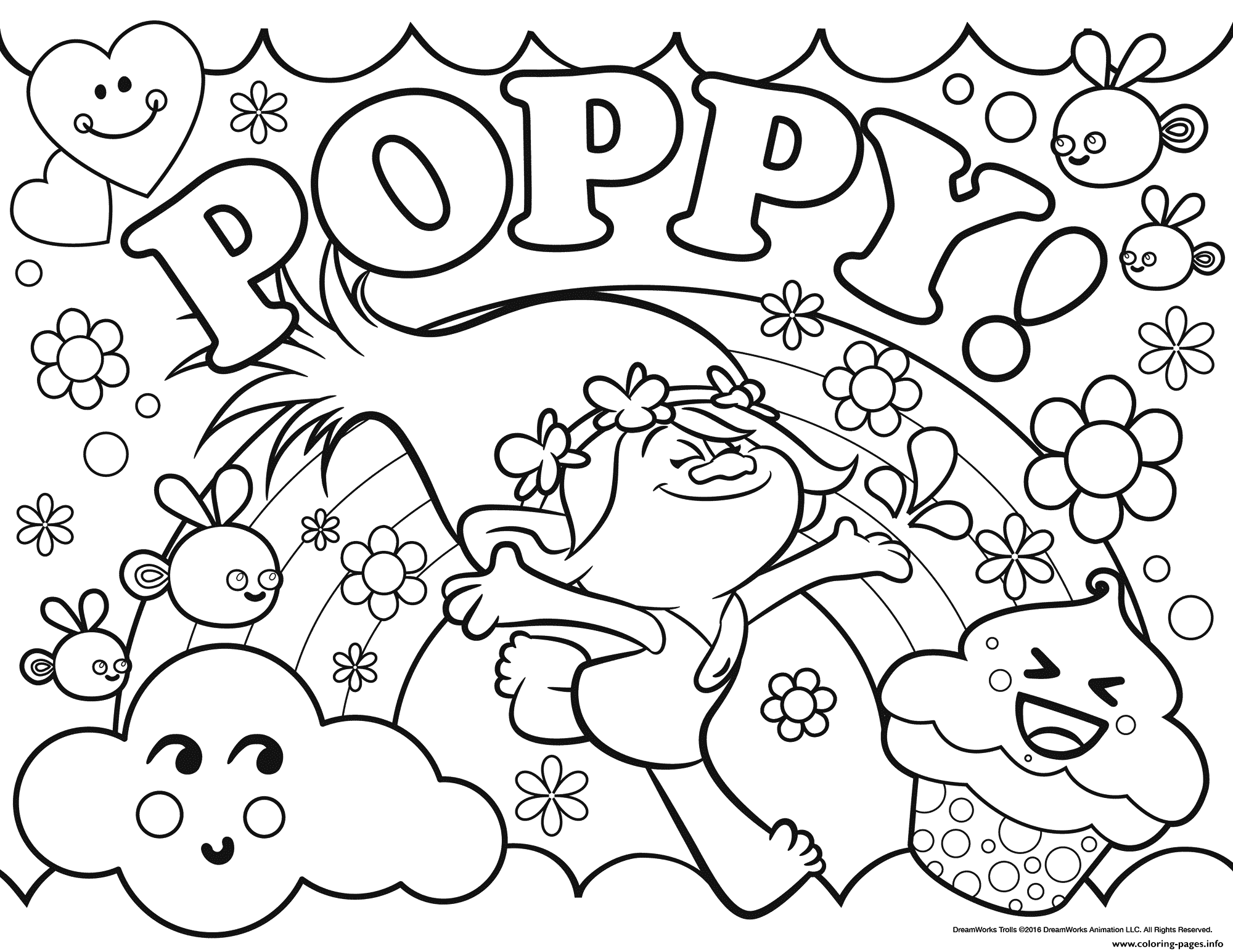 dreamworks trolls coloring pages Trolls Poppy Coloring Pages Printable dreamworks trolls coloring pages