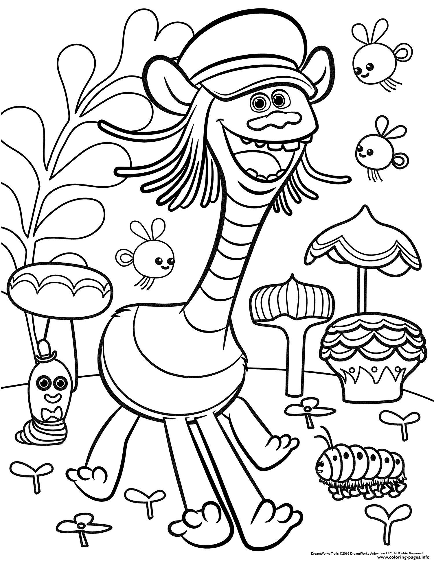 trolls movie color troll coloring pages printable
