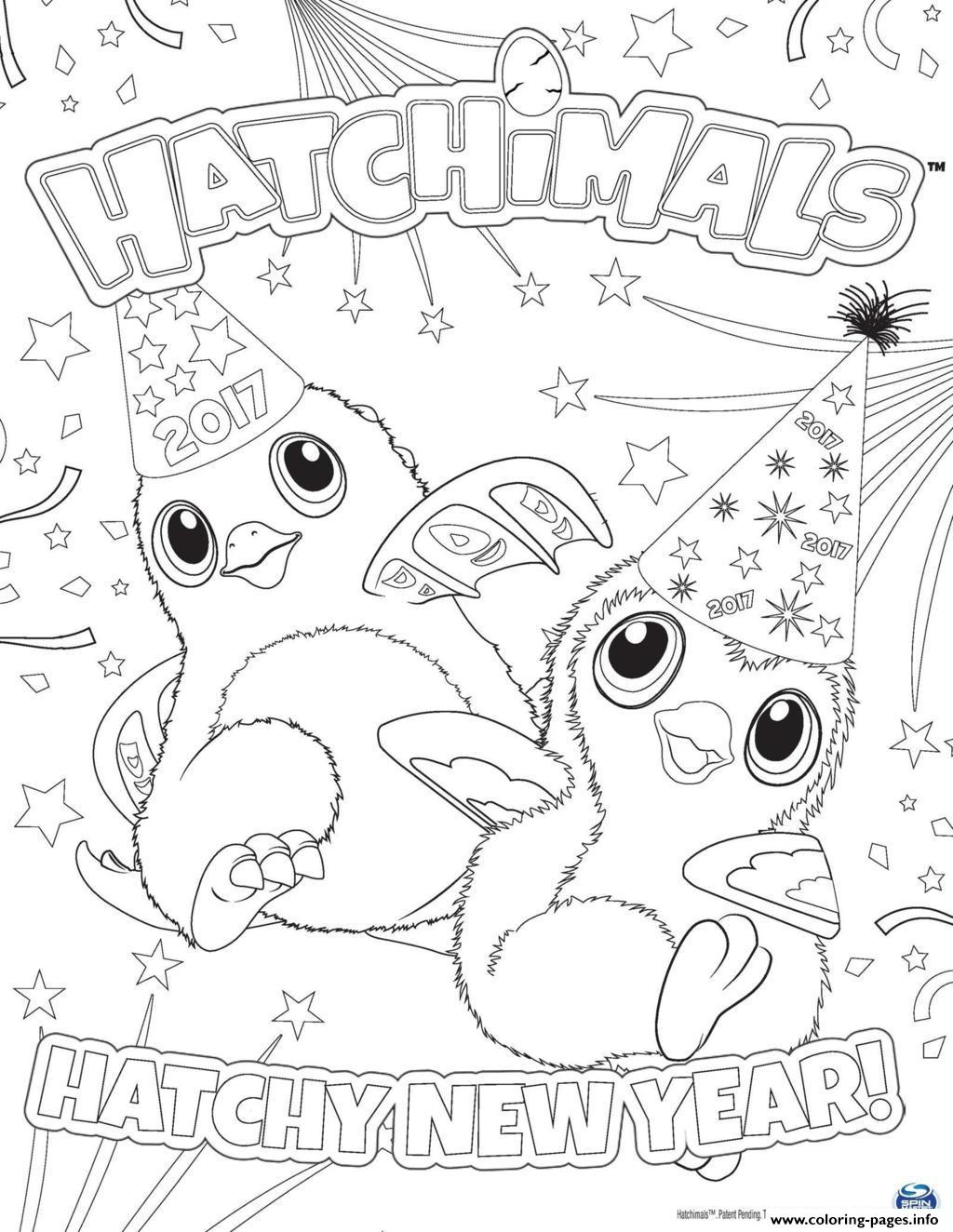 Hatchimals Happy Newyear 2017 Hatchy Coloring Pages