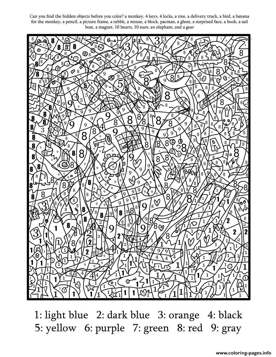Coloring pages by numbers for adults - Color By Number For Adults Hard Difficult Coloring Pages