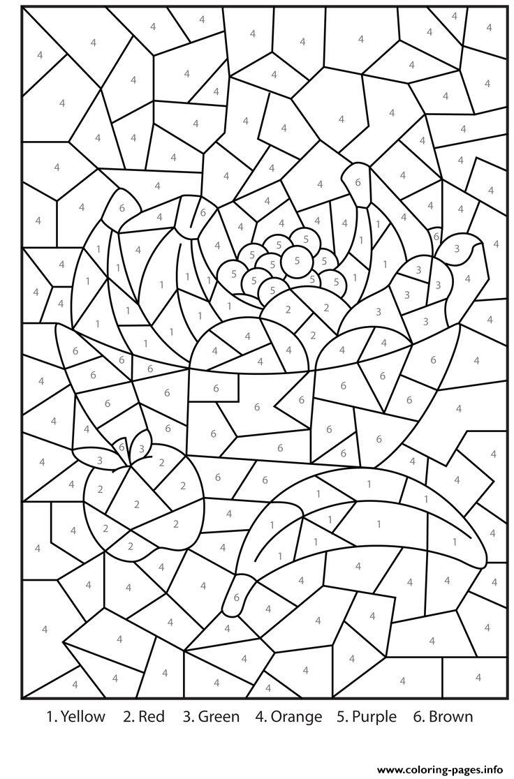 Coloring pages by numbers for adults - Color By Number For Adults Fruits Printables Coloring Pages