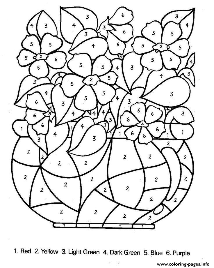 Color By Number Flowers Adults Coloring Pages Print Download