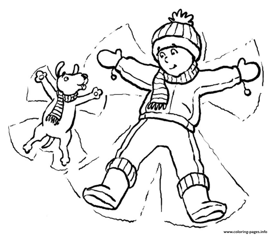Dog And Kid In Snow Winter Sfa03 Coloring Pages Printable