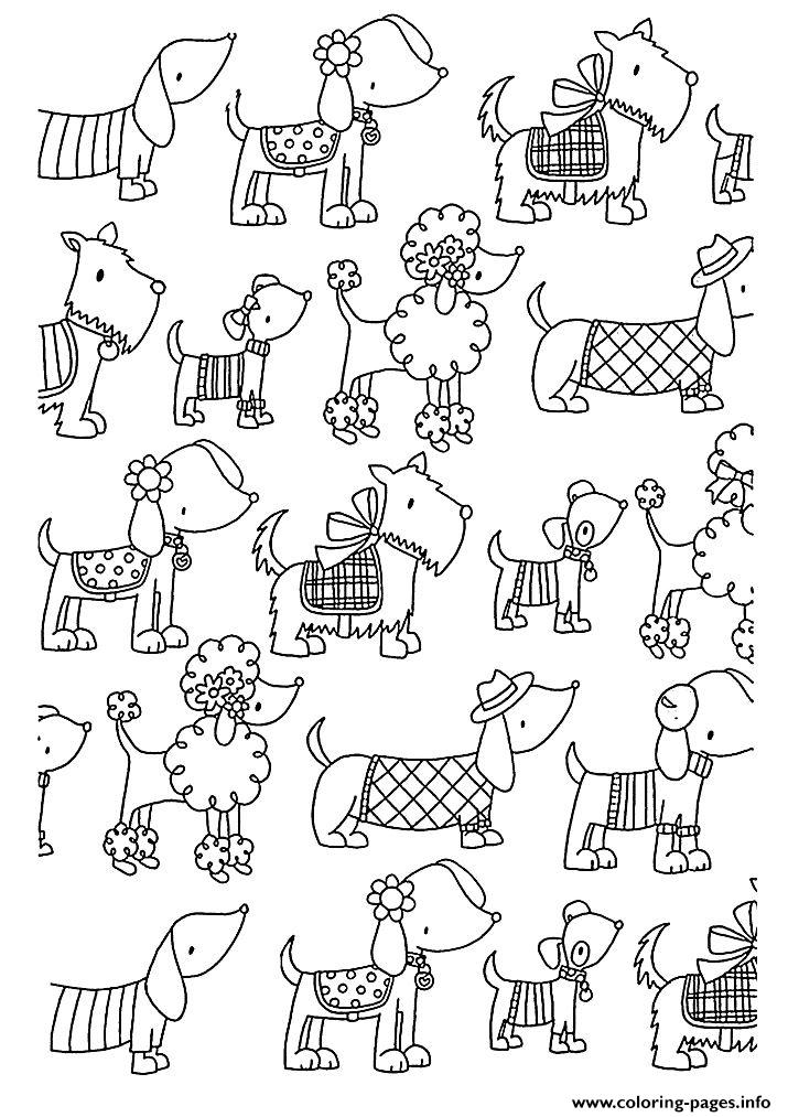 Coloring Adult Difficult Dogs Elegants coloring pages