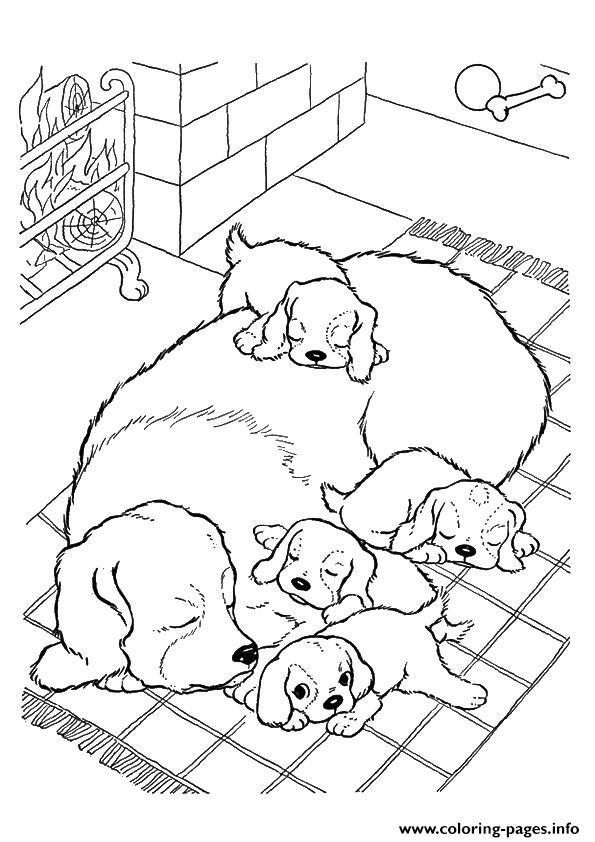 the mother dog with pups puppy coloring pages print download - Coloring Pages Puppies Print