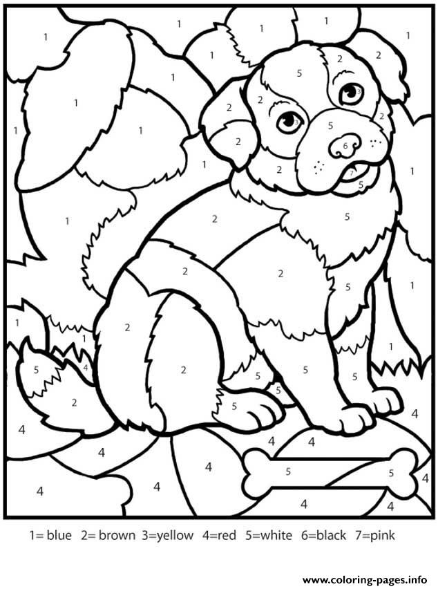 Color By Numbers Adult Worksheets Dog Coloring Pages