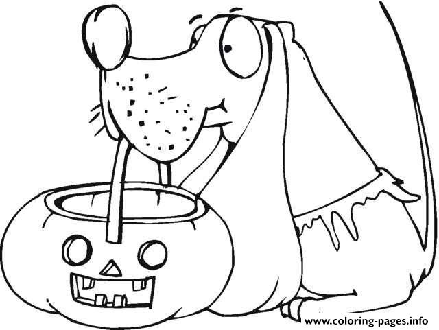 Dog Holds Pumpkin Basket Halloween coloring pages
