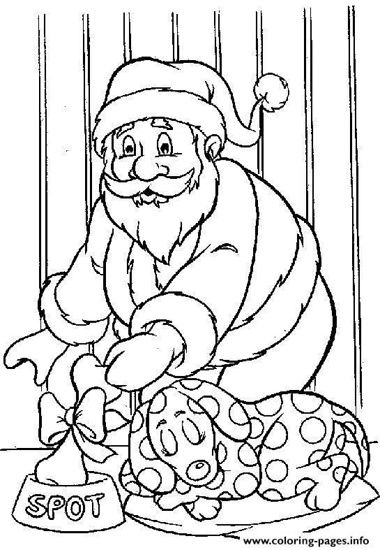 Christmas Santa Claus Gift For Dog 85 Coloring Pages Printable