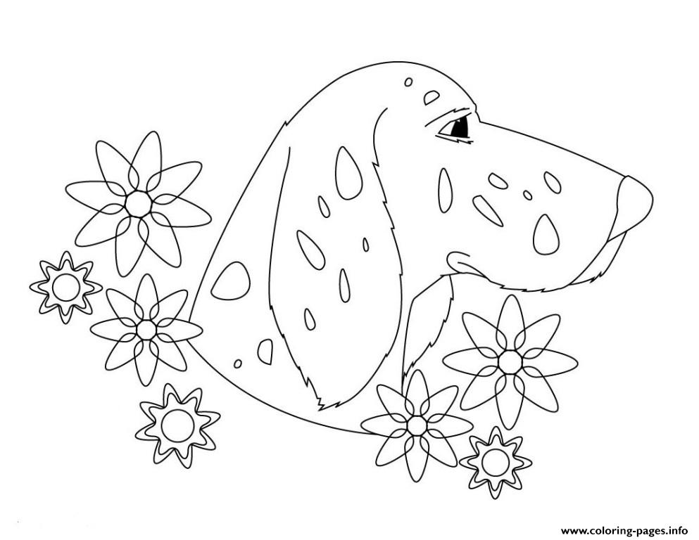 Dog An Flower 1ce2 coloring pages