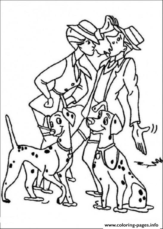 Roger And Anita Walking The Dogs 3375 Coloring Pages Printable