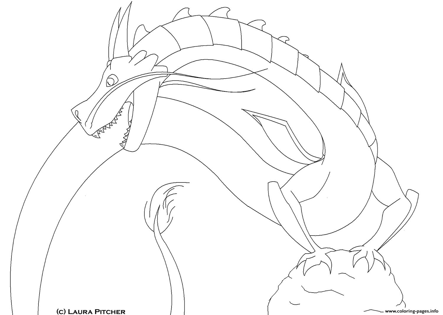Dragon With Long Tail Coloring Pages Printable