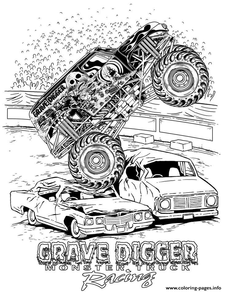 Grave Digger Hot Monster Truck coloring pages