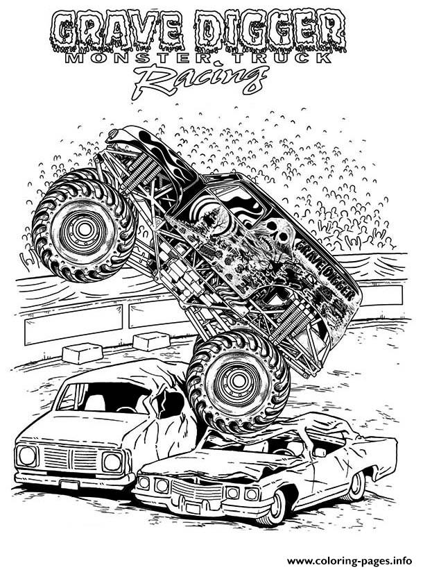 Grave Digger Monster Truck Racing coloring pages