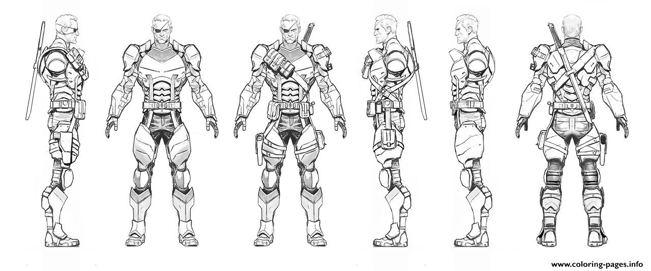 Arkham Origins Deathstroke Turnaround Coloring Pages Printable