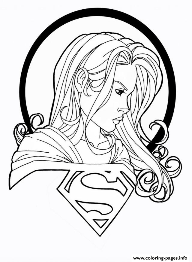 supergirl with logo coloring pages printable