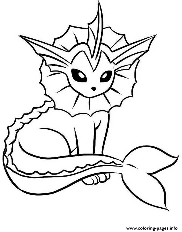 Vaporeon Eevee Evolutions Coloring Pages Printable