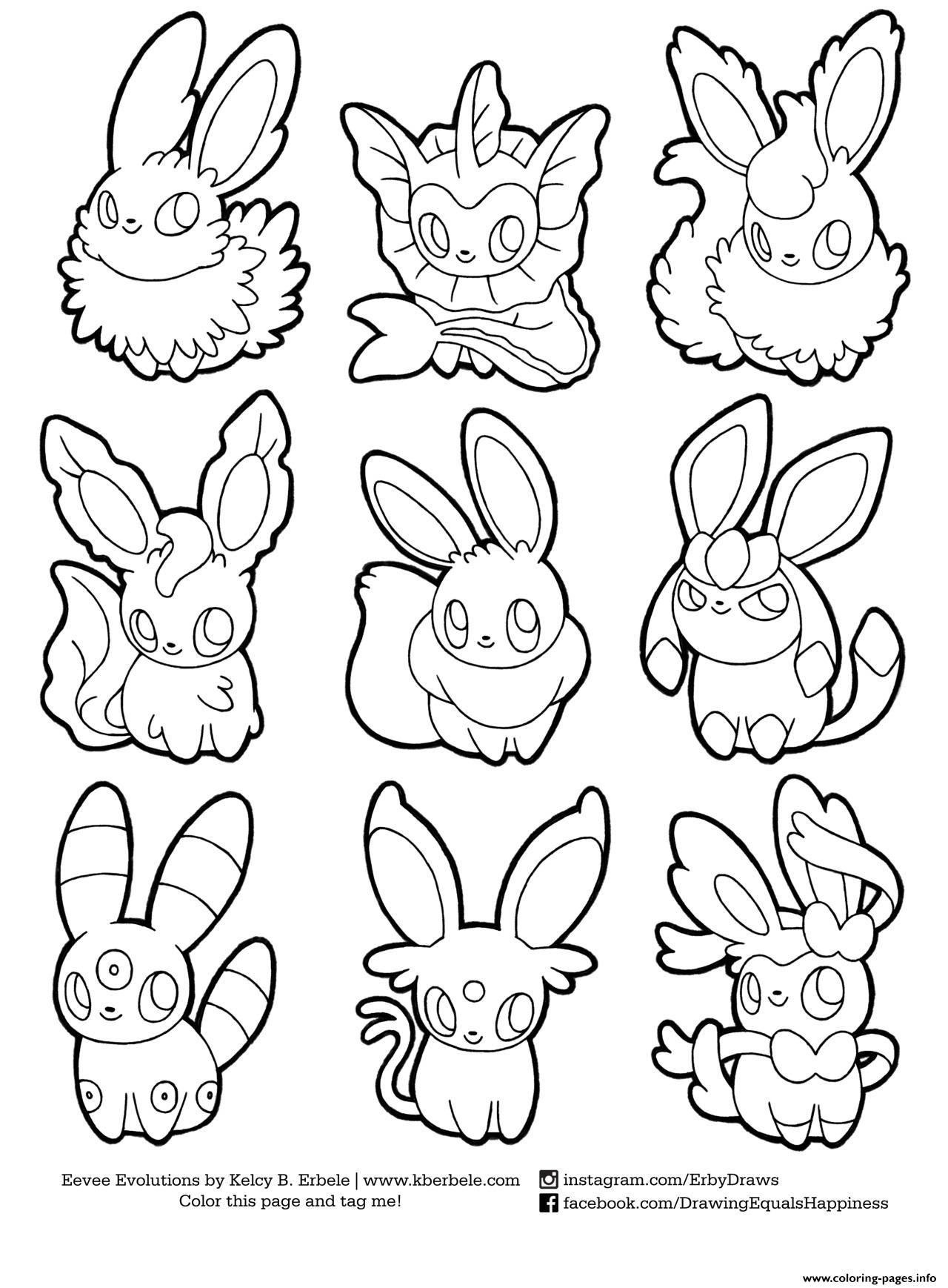 Pokemon Eevee Evolutions List Coloring Pages