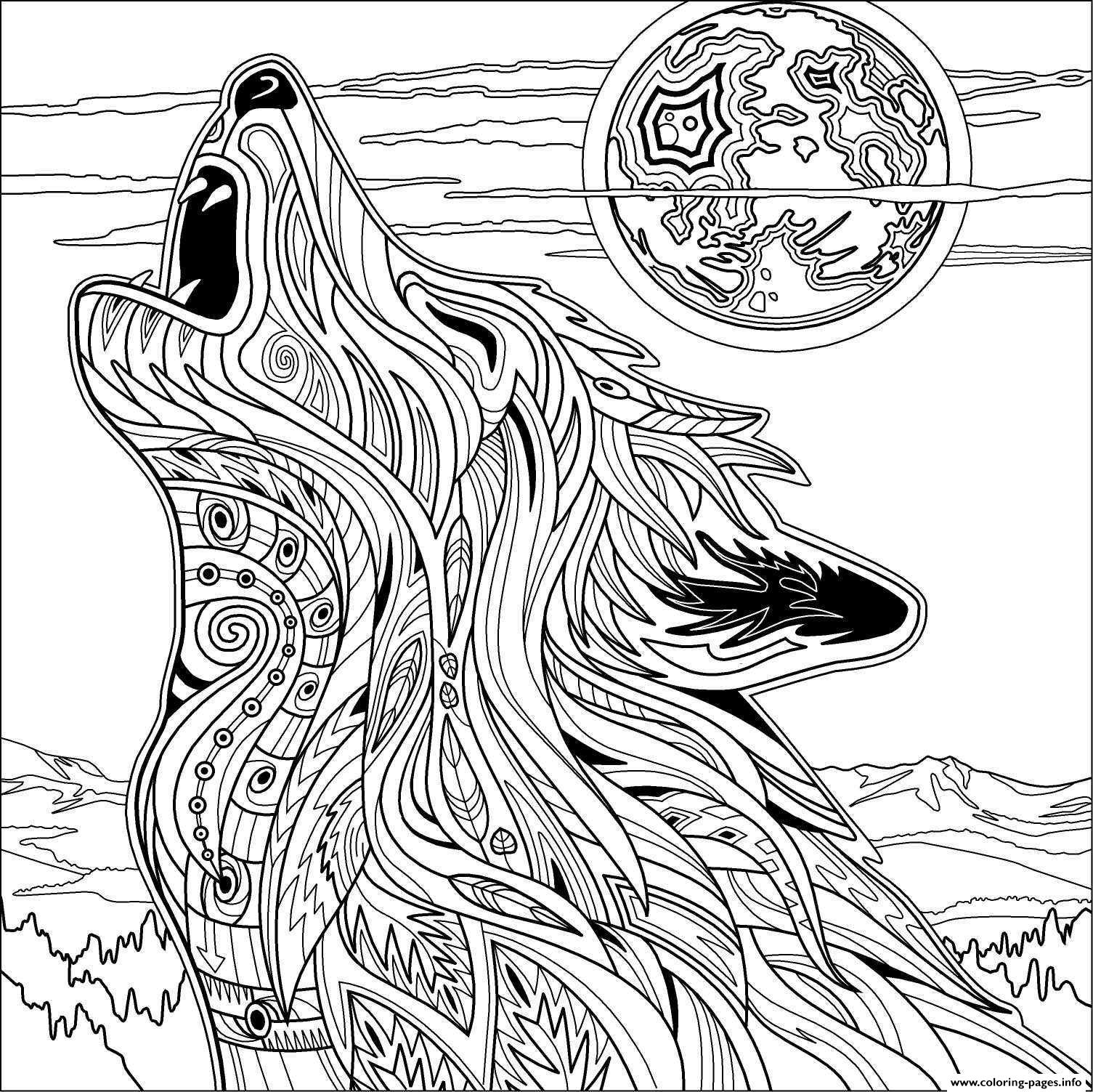 Wolf mandala coloring pages - Wolf For Adult Coloring Pages Printable