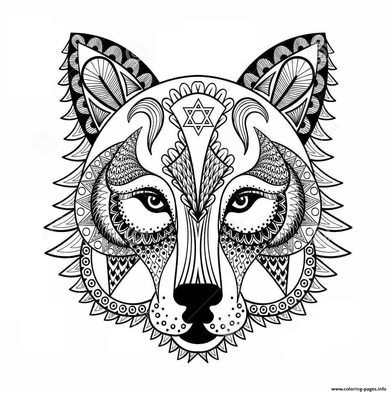 Wolf For Adult Anti Stress Coloring Pages Print Download