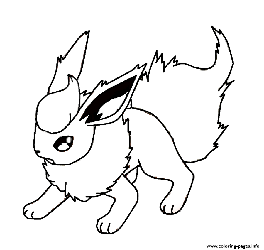 graphic relating to Printable Pokemon identified as Flareon Eevee Pokemon Coloring Internet pages Printable