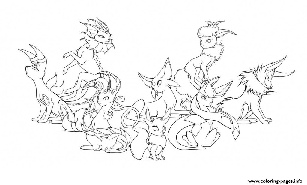 Pokemon Eevee Evolutions Mega Coloring Pages Printable