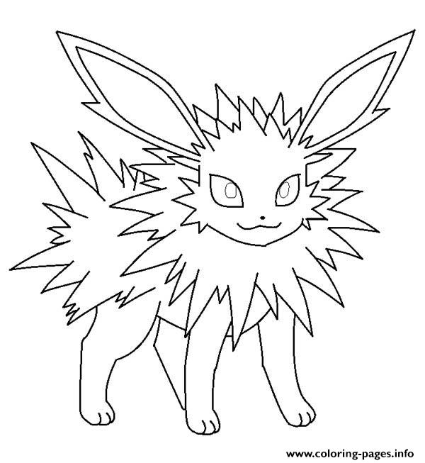 Jolteon eevee pokemon coloring pages printable for Pokemon eevee evolutions coloring pages