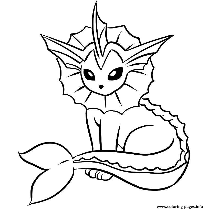 Vaporeon Pokemon Coloring Pages Printable