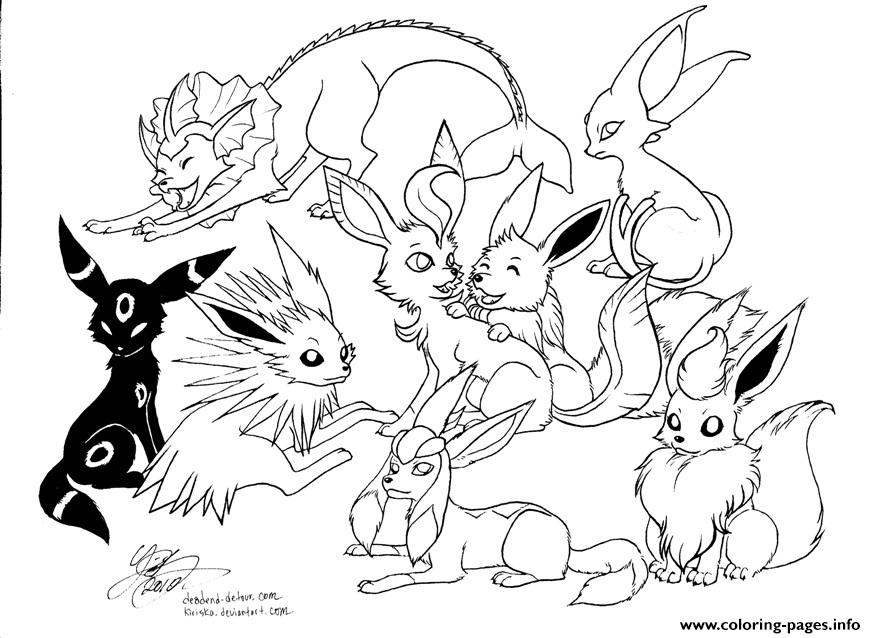 eevee pokemon coloring pages Pokemon Eevee Evolutions Coloring Pages Printable eevee pokemon coloring pages