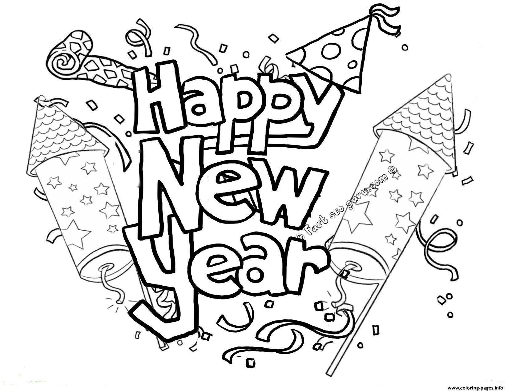 image relating to Happy New Year Printable called Joyful Fresh new 12 months Printable 2 Coloring Web pages Printable