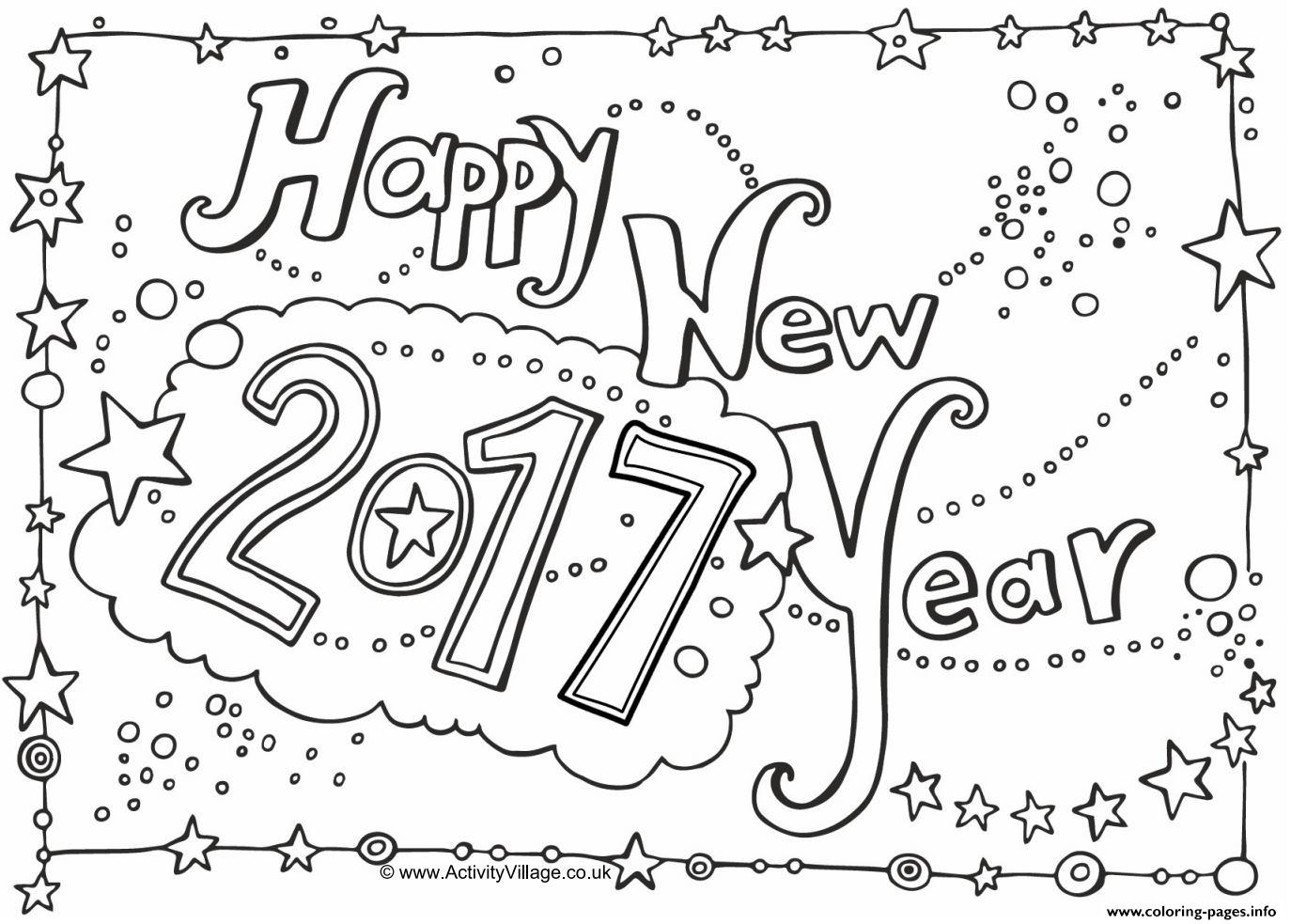 Happy New Year 2017 Coloring pages Printable