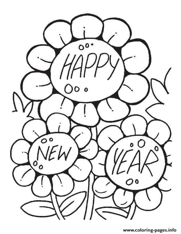 Flower wishing happy new year printable 2017 coloring for Coloring pages new years