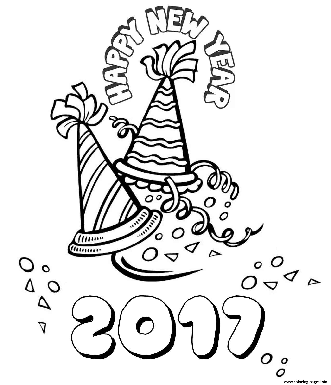 Happy New Year 2017 2 Coloring Pages Printable
