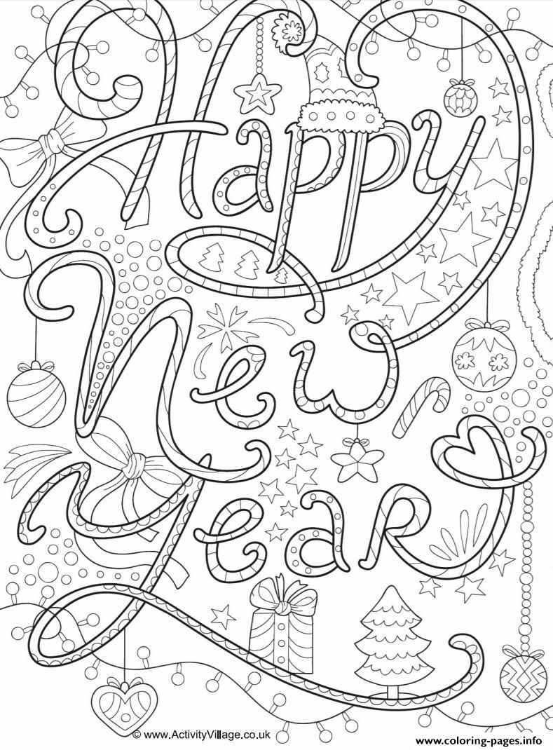 Happy New Year Adult Coloring Pages Printable