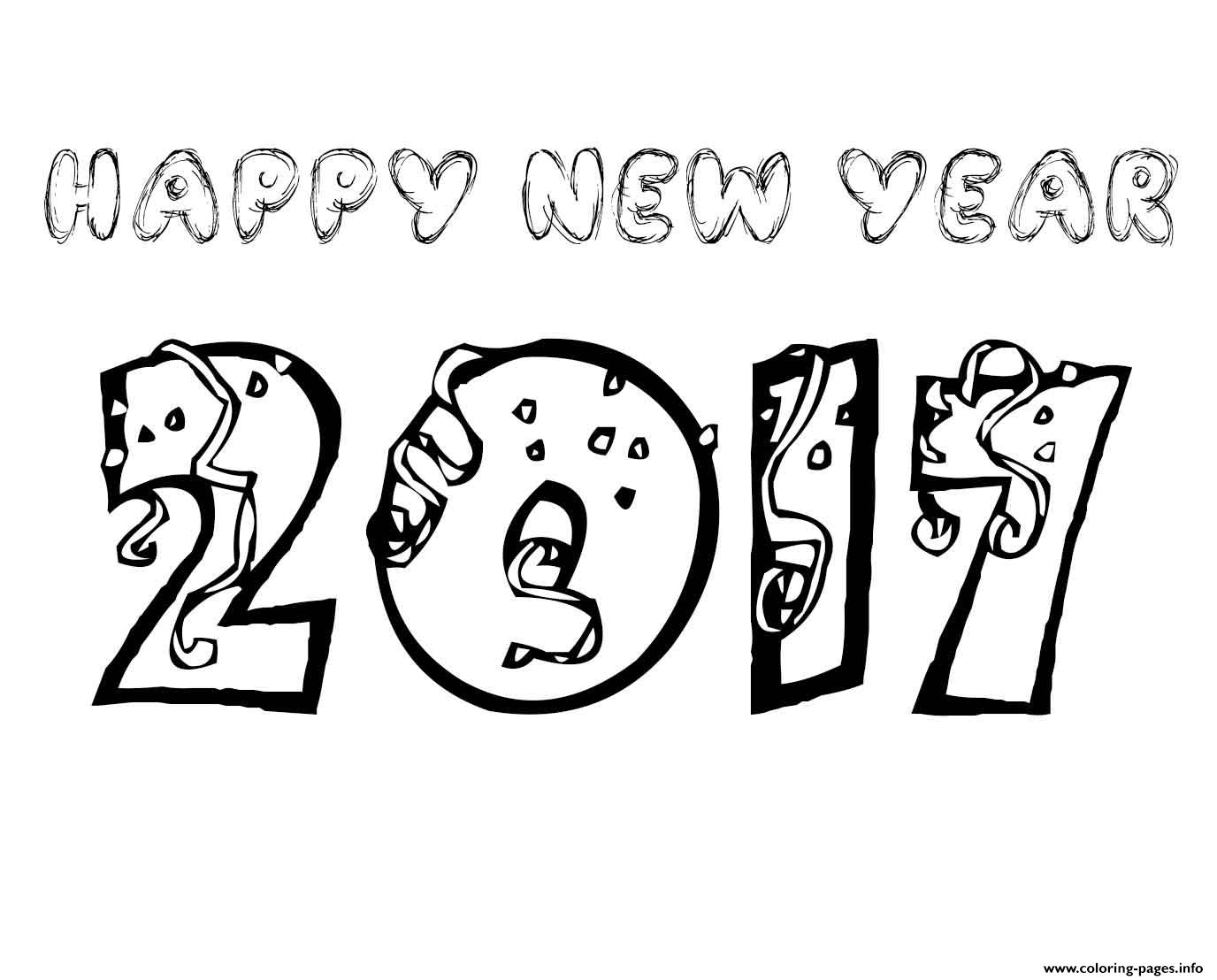 Free coloring pages new years -  Print Happy New Year 2017 Coloring Pages 2 Coloring Pages