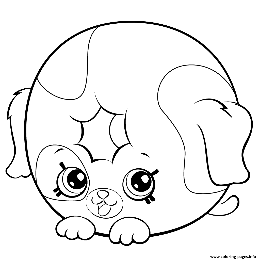 print cute donut dog printable petkins shopkins coloring pages