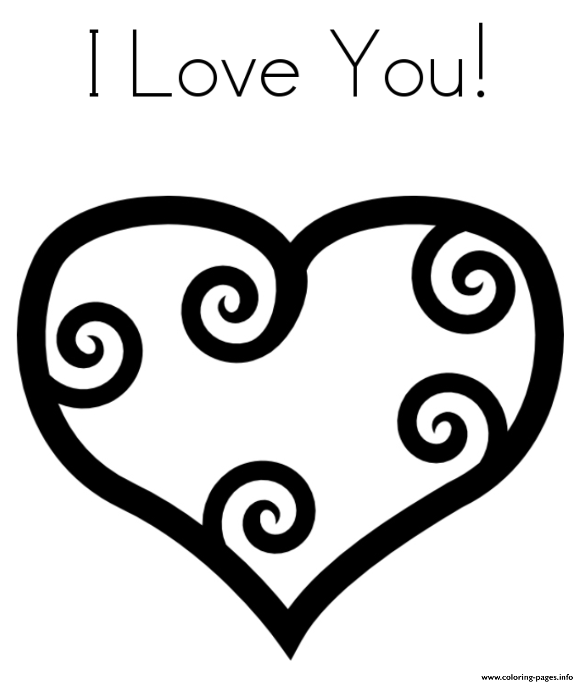 Heart I Love You Valentine F700 Coloring Pages Printable