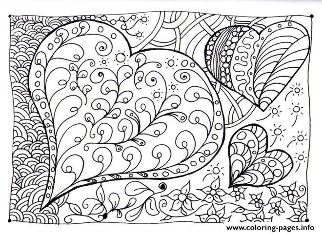 Adult Zen Anti Stress Heart Zen coloring pages