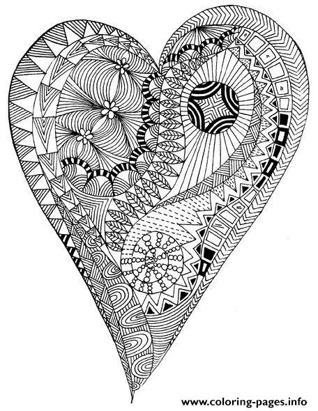 Coloring Adult Heart Zen Anti Stress To Print coloring pages