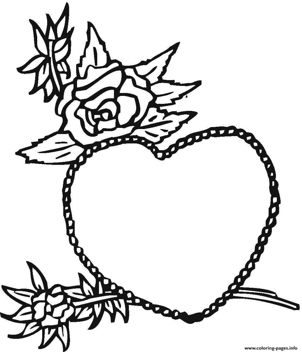 rose and heart valentines s5874 coloring pages printable - Heart Coloring Pages Print