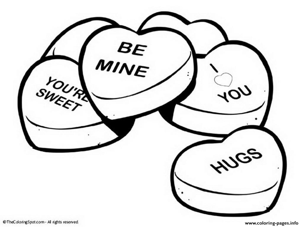 Valentine Day Cute Words Happy Heart Coloring Pages Printable