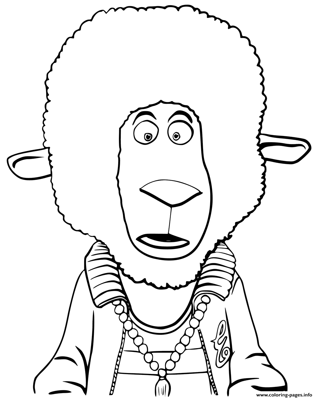 animation coloring pages Eddie Noodleman Sheep From Sing Animation Coloring Pages Printable animation coloring pages
