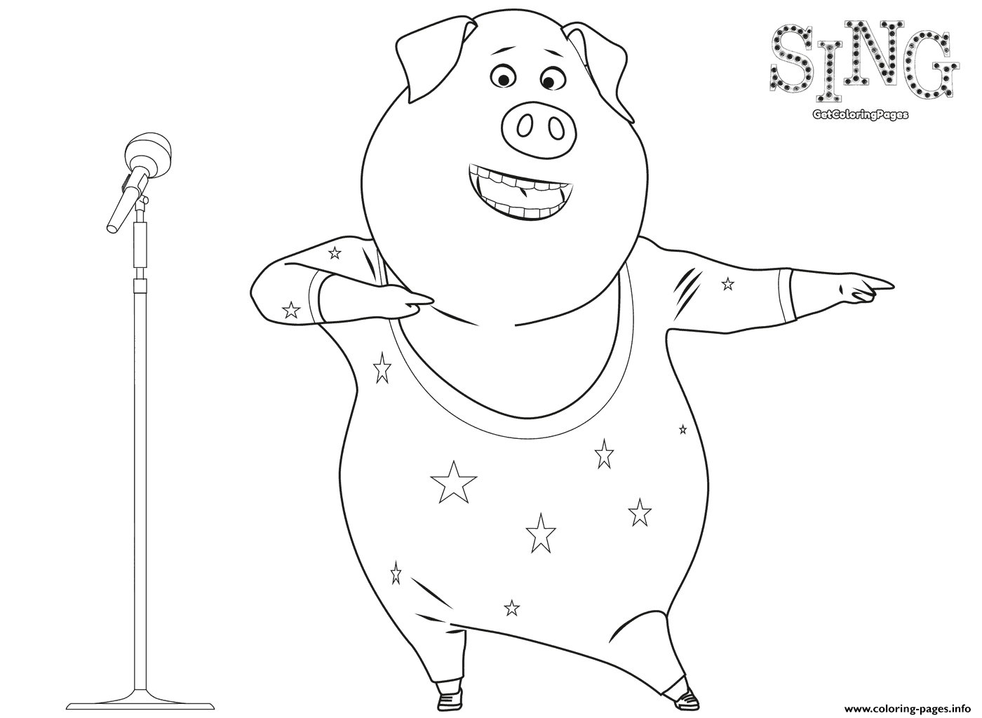 Sing Coloring Page Dancing Pig Coloring Pages Printable