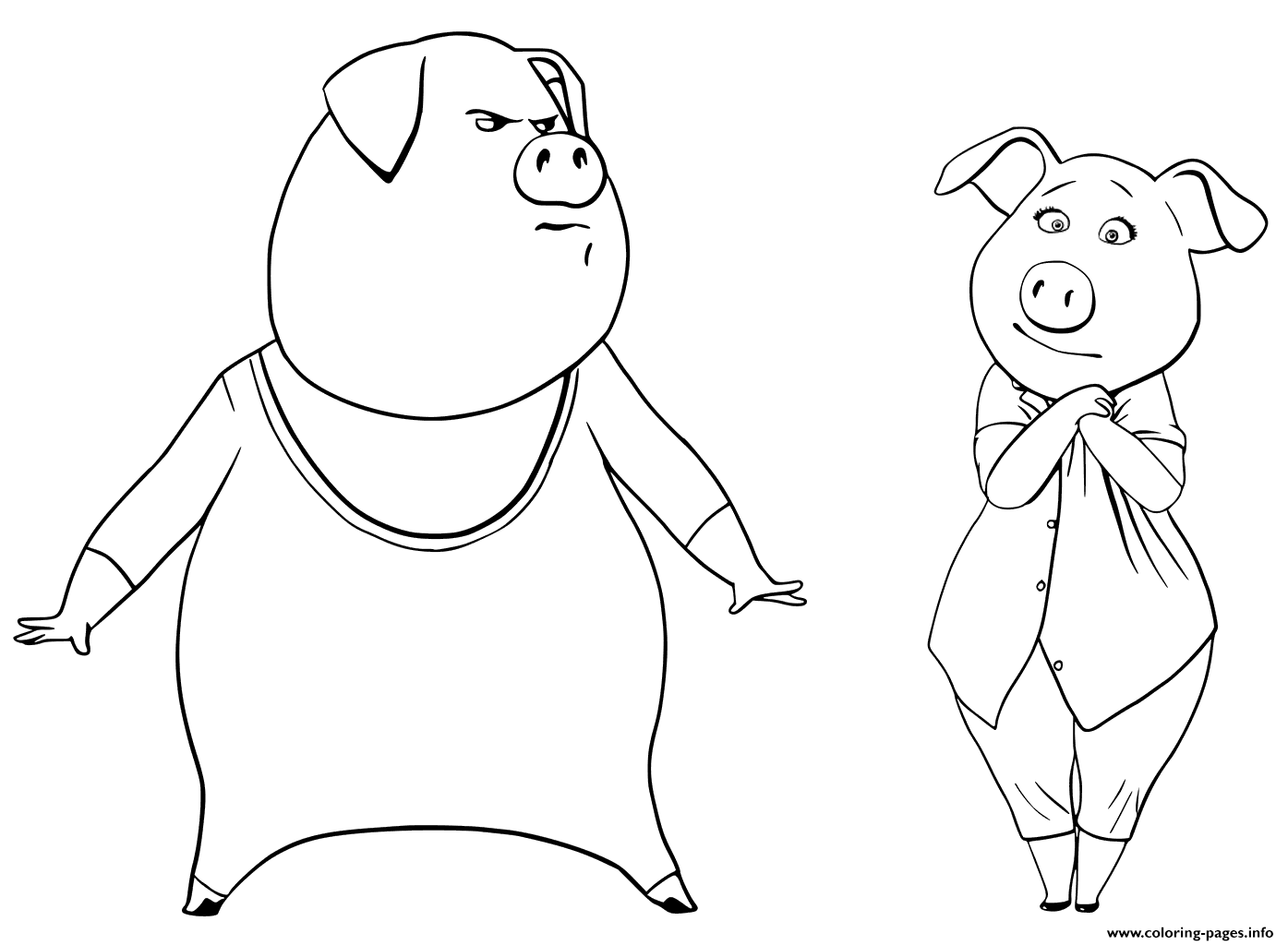 pigs from sing coloring pages gunter and rosita coloring pages