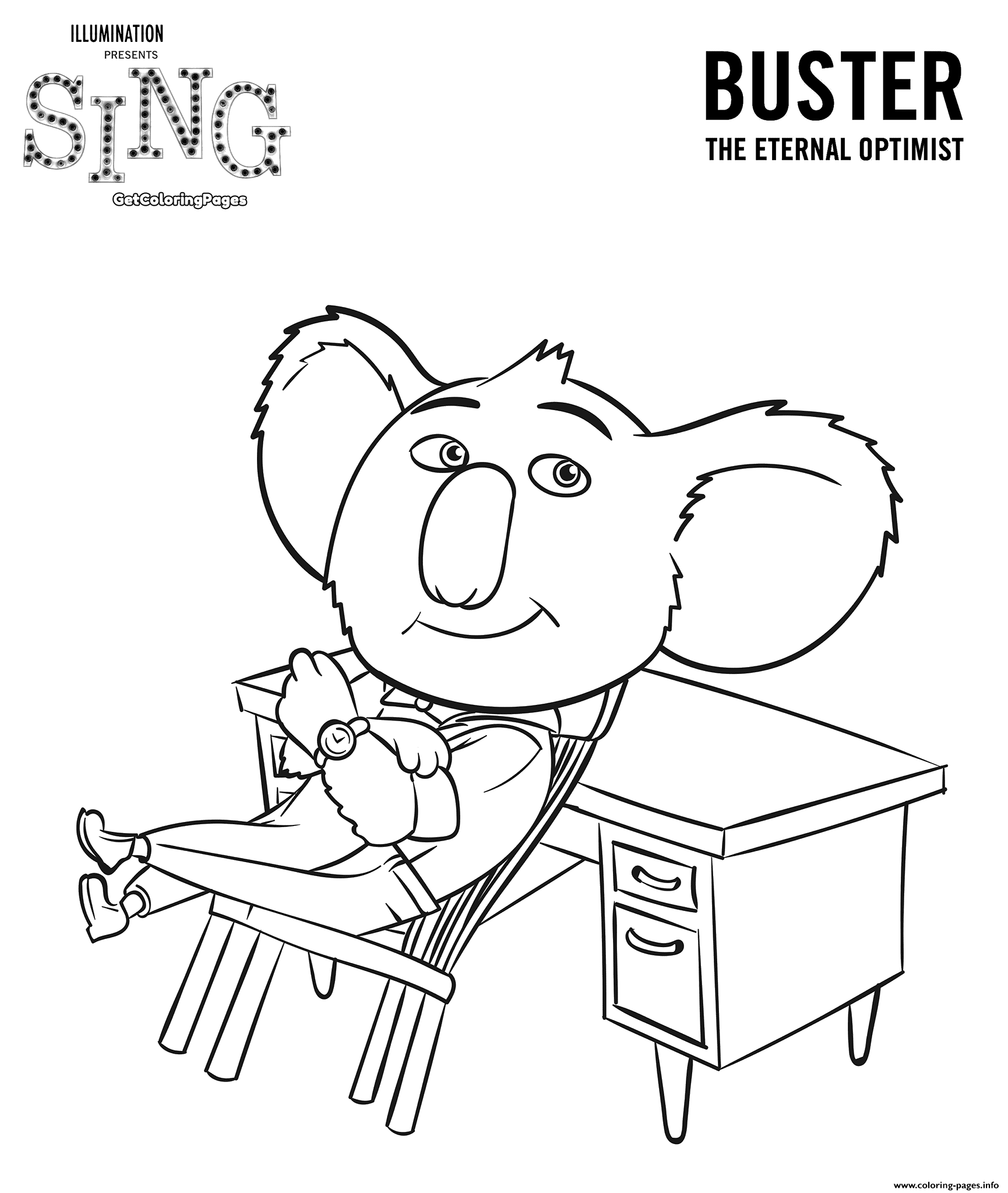 Sing Movie Coloring Pages Koala