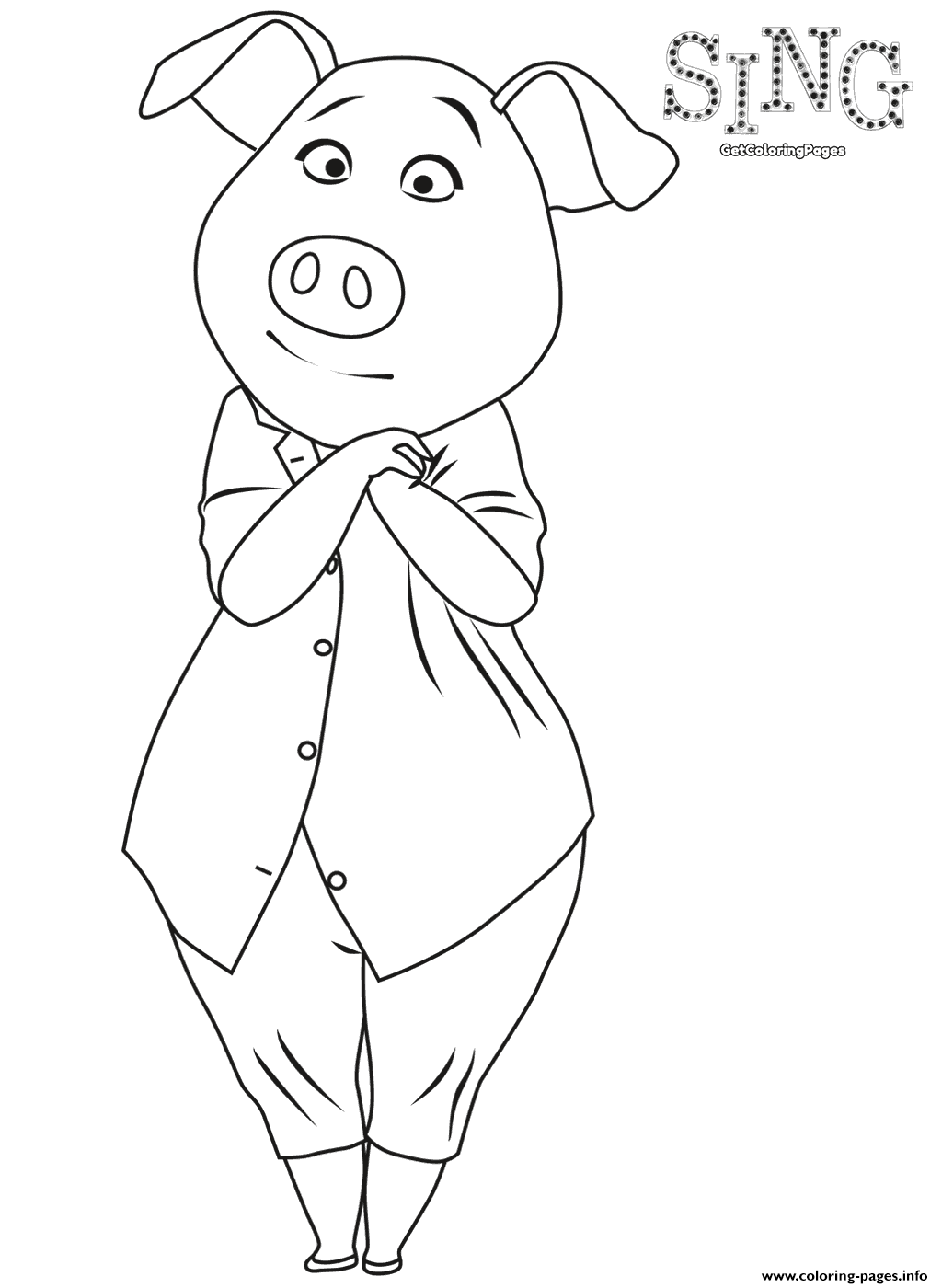 sing colouring page pig rosita coloring pages printable