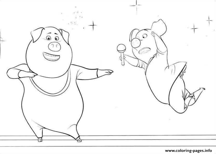 Free sing movie 2 pigs coloring pages printable for Sing movie coloring pages