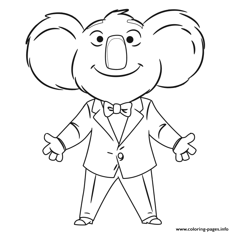 Sing movie coloring pages printable for Sing movie coloring pages